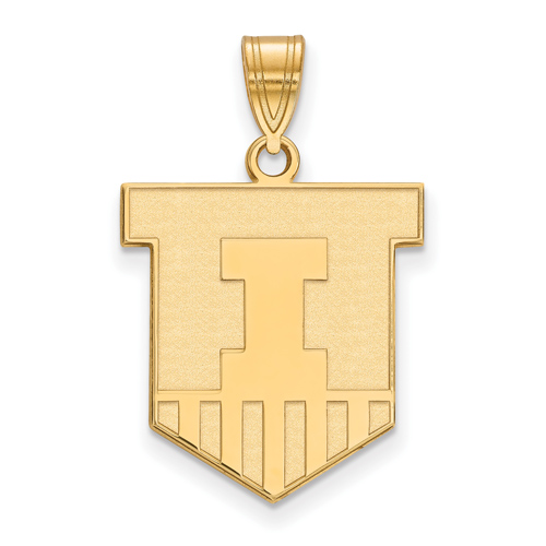 10kt Yellow Gold 3/4in University of Illinois Victory Badge Pendant