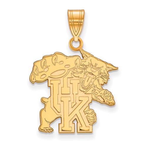 10kt Yellow Gold 3/4in University of Kentucky Wildcat Pendant