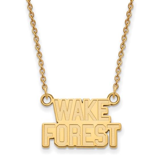 Wake Forest University Logo Necklace 14k Yellow Gold