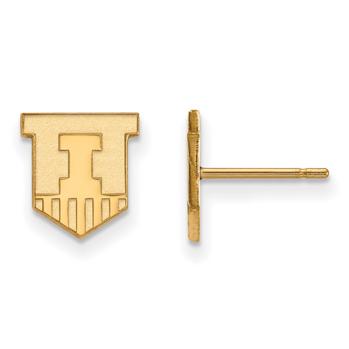 Univ. of Illinois Victory Badge Earrings Extra Small 10k Yellow Gold