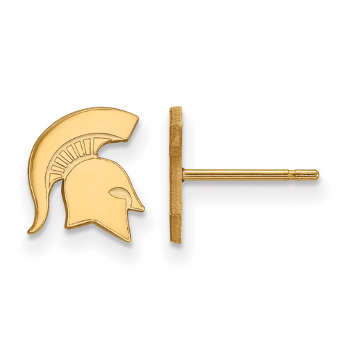 Michigan State University Spartan Extra Small Earrings 14k Yellow Gold