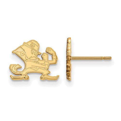 14k Yellow Gold Notre Dame Leprechaun Extra Small Post Earrings