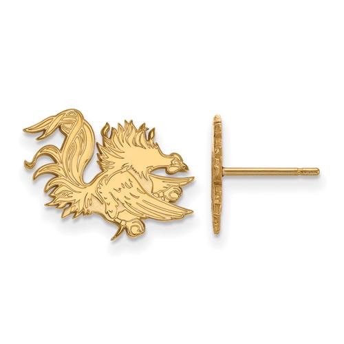 University of South Carolina Gamecock Earrings Small 14k Yellow Gold