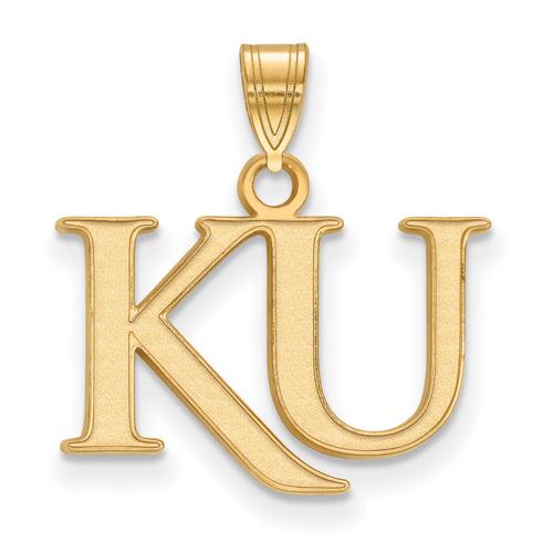 14kt Yellow Gold 1/2in University of Kansas KU Pendant