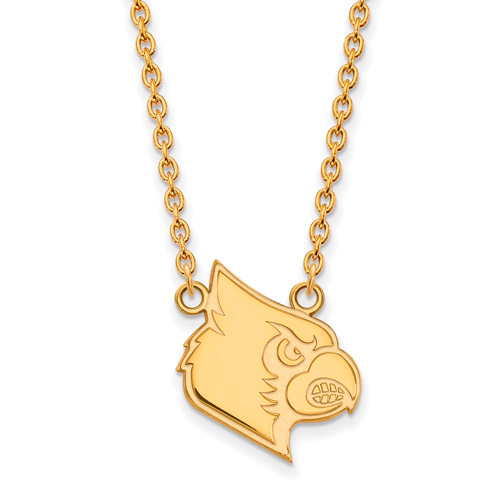 14k Yellow Gold University of Louisville Louis Pendant with 18in Chain
