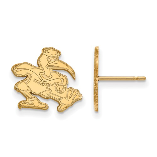 10kt Yellow Gold University of Miami Ibis Small Post Earrings