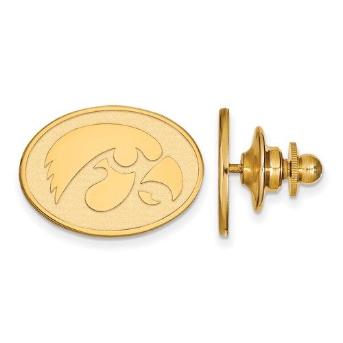 University of Iowa Oval Lapel Pin 14k Yellow Gold