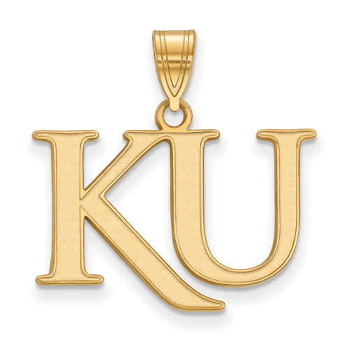 14kt Yellow Gold 5/8in University of Kansas KU Pendant
