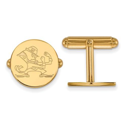 14k Yellow Gold University of Notre Dame Leprechaun Cuff Links