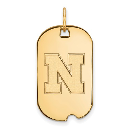 14kt Yellow Gold University of Nebraska N Small Dog Tag
