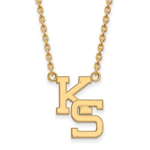 Kansas State University KS Necklace 3/4in 10k Yellow Gold