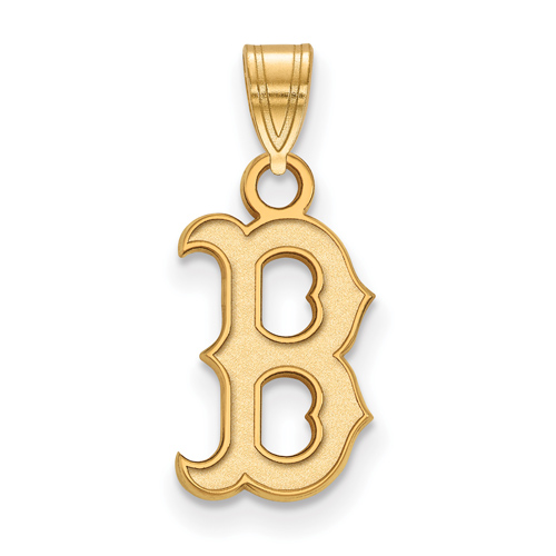 14kt Yellow Gold 1/2in Boston Red Sox B Pendant
