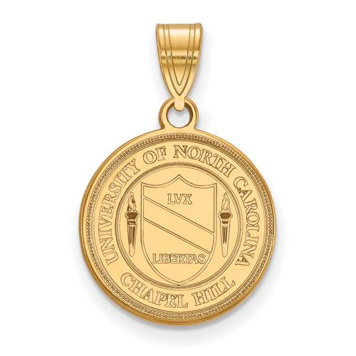 14kt Yellow Gold 5/8in University of North Carolina Crest Disc Pendant