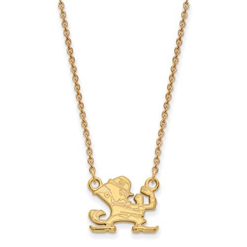 14k Yellow Gold Small University of Notre Dame Leprechaun Necklace