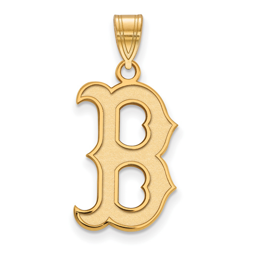 14kt Yellow Gold 3/4in Boston Red Sox B Pendant