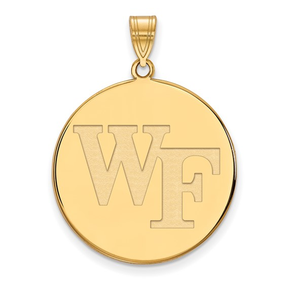 Wake Forest University WF Disc Pendant 1in 14k Yellow Gold