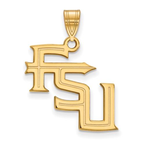 10kt Yellow Gold 3/4in Florida State University FSU Pendant