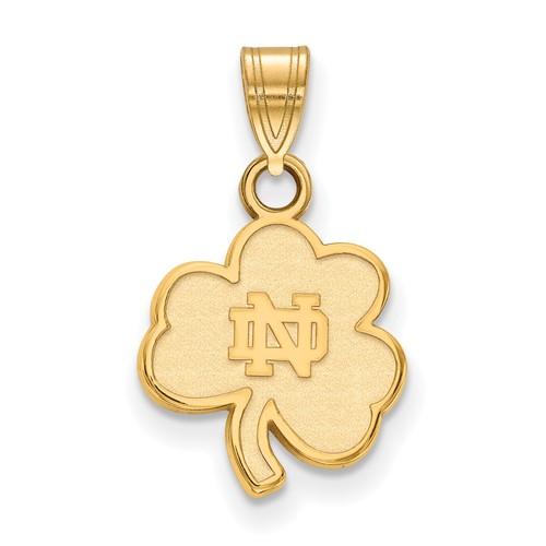 14k Yellow Gold 5/8in University of Notre Dame Shamrock Pendant