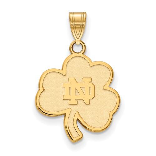 14k Yellow Gold 3/4in University of Notre Dame Shamrock Pendant