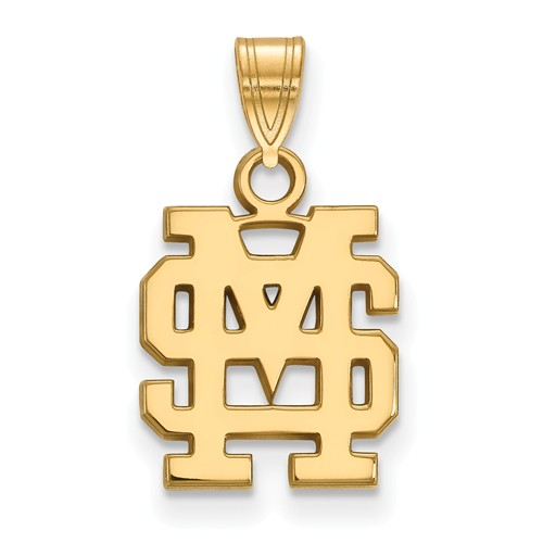 Mississippi State University MS Charm 1/2in 10k Yellow Gold