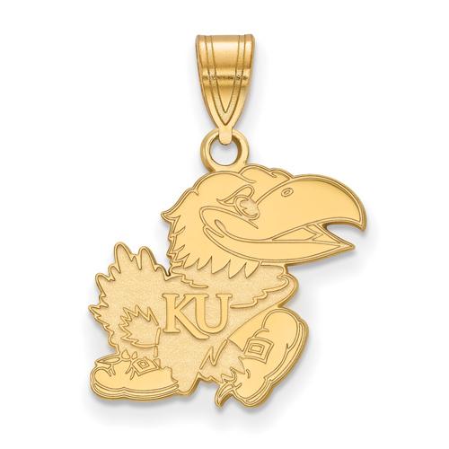14kt Yellow Gold 5/8in University of Kansas Jayhawk Pendant