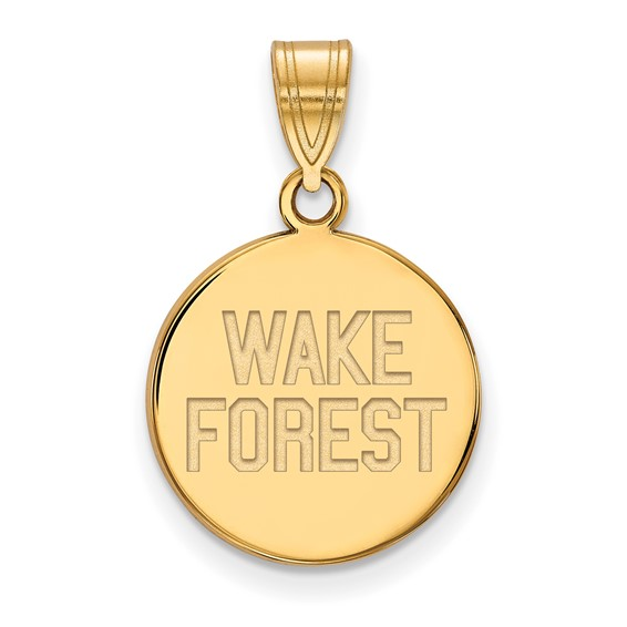 Wake Forest University Disc Pendant 5/8in 10k Yellow Gold