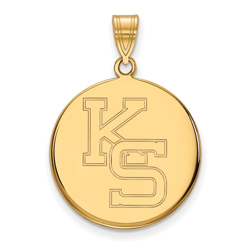 Kansas State University Round KS Pendant 3/4in 10k Yellow Gold