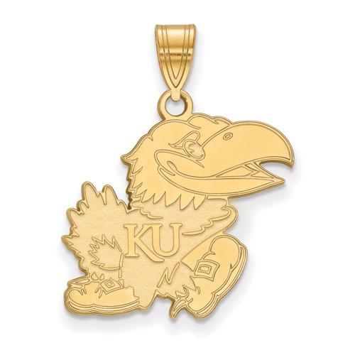 10kt Yellow Gold 3/4in University of Kansas Jayhawk Pendant