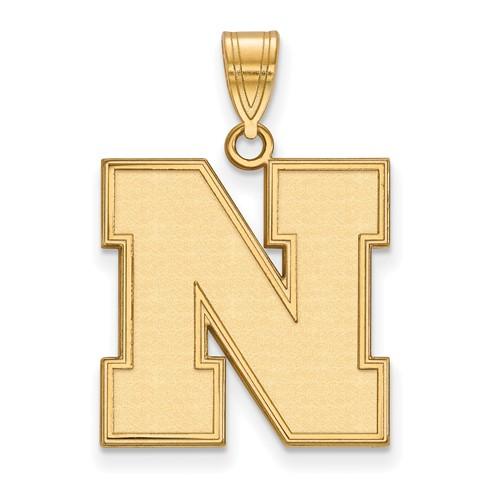 14kt Yellow Gold 3/4in University of Nebraska Beveled N Pendant