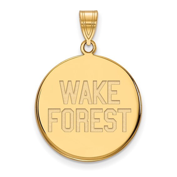 Wake Forest University Round Pendant 3/4in 14k Yellow Gold