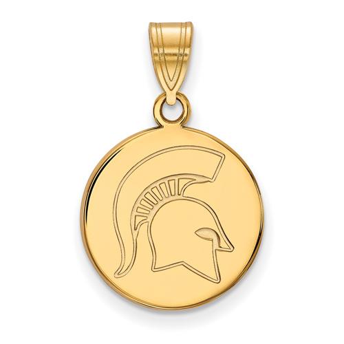 Michigan State University Spartan Round Pendant 5/8in 14k Yellow Gold