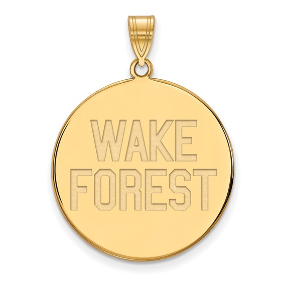 Wake Forest University Disc Pendant 1in 10k Yellow Gold
