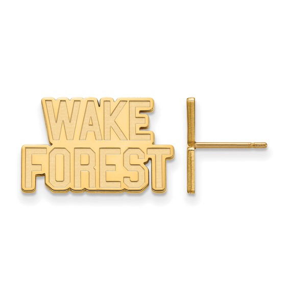 Wake Forest University Logo Post Earrings 14k Yellow Gold