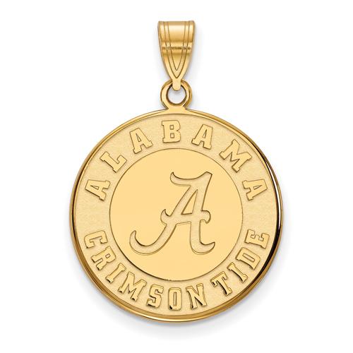 14kt Yellow Gold 3/4in University of Alabama Crimson Tide Disc Pendant