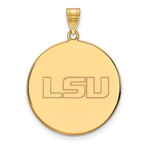 14kt Yellow Gold 1in Louisiana State University LSU Round Pendant