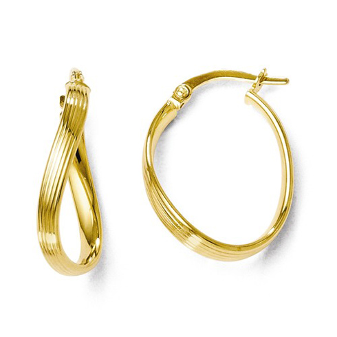 14kt Yellow Gold 3/4in Italian Twisted Hoop Earrings with Grooves