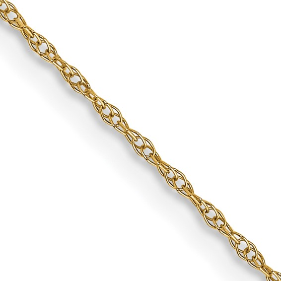 14k Yellow Gold 18in Cable Rope Chain .6mm