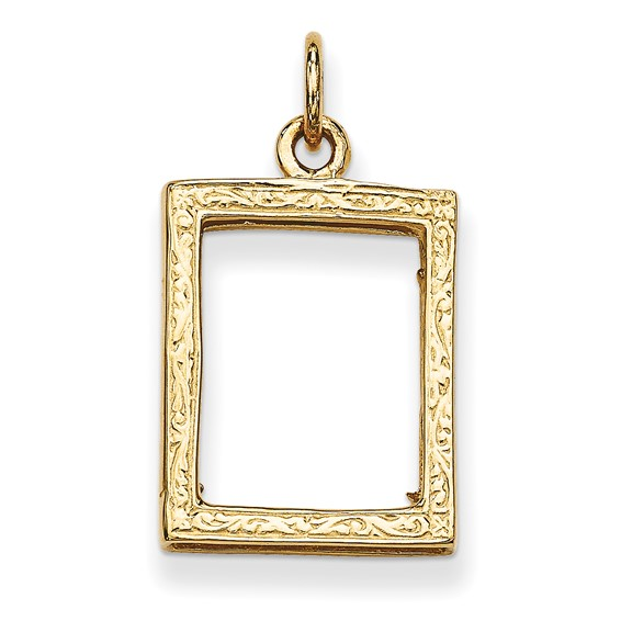 14kt Yellow Gold 5/8in Small Picture Frame Pendant