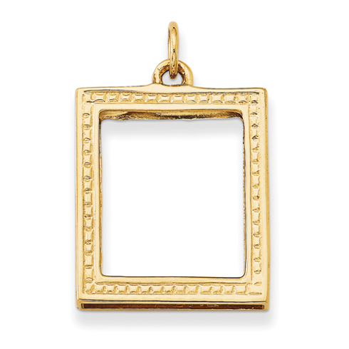 14kt Yellow Gold 3/4in Picture Frame Pendant