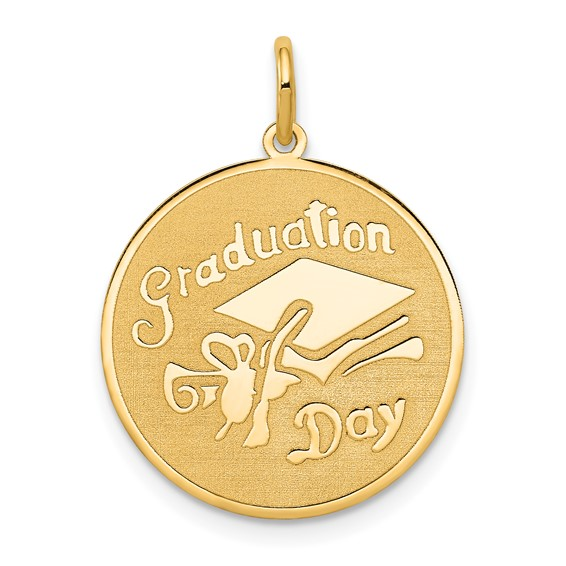 14kt Yellow Gold Small Round Graduation Day Disc Charm