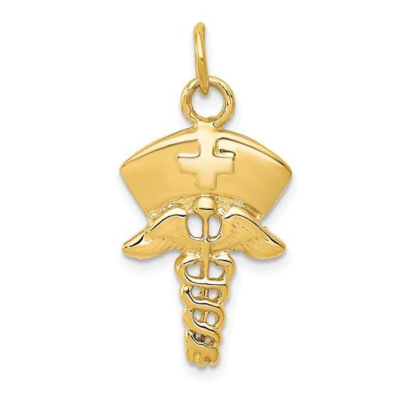 14kt Yellow Gold 1in Nurse Cap Symbol Pendant