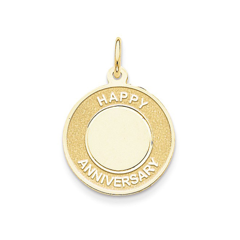 14kt Yellow Gold 3/4in Round Happy Anniversary Charm