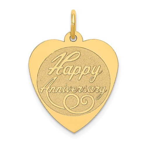 14kt Yellow Gold 3/4in Heart Shaped Happy Anniversary Charm