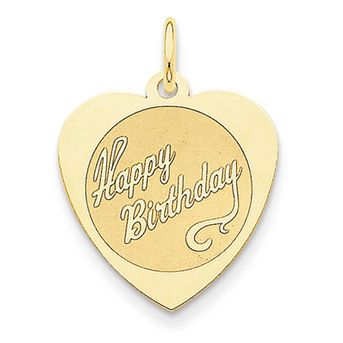 14kt Yellow Gold 3/4in Heart Shaped Happy Birthday Charm
