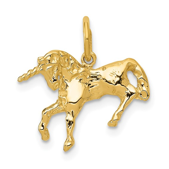 14kt Yellow Gold 1/2in Unicorn Charm
