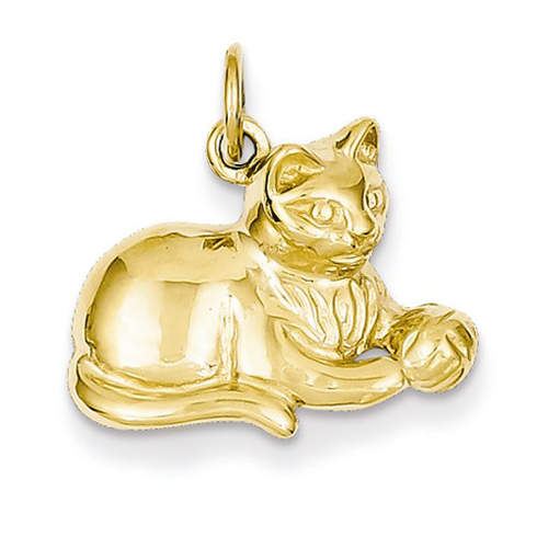 14kt Yellow Gold 1/2in Cat and Ball Pendant