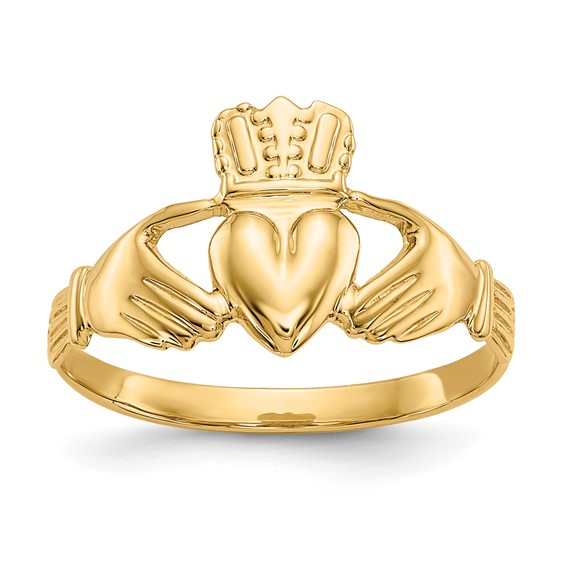 14kt Yellow Gold Polished Petite Claddagh Ring
