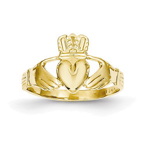 14kt Yellow Gold Polished Claddagh Ring