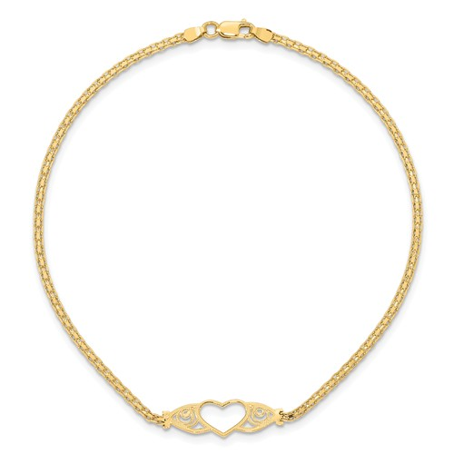 14kt Yellow Gold 10in Antiqued Heart Anklet