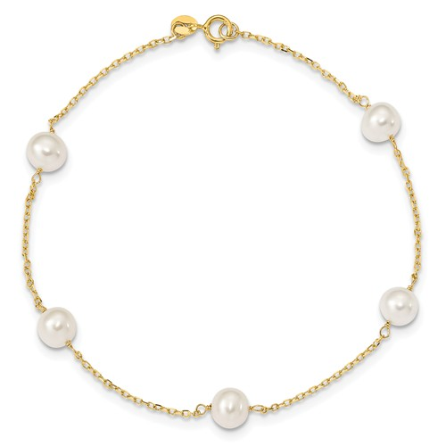 14kt Yellow Gold 9in Freshwater Cultured Pearl Anklet